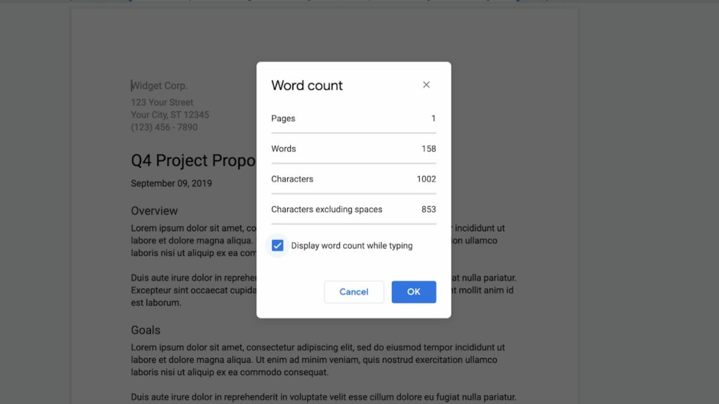 Google Docs will now display your word count as you type
