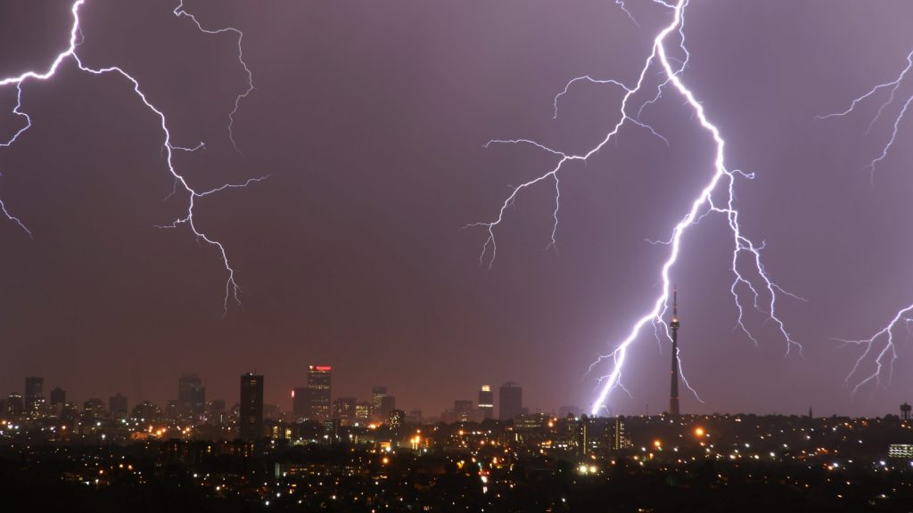 Lightning thunderstorm Johannesburg Joburg weather