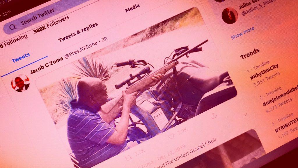 jacob zuma rifle quad bike tweet