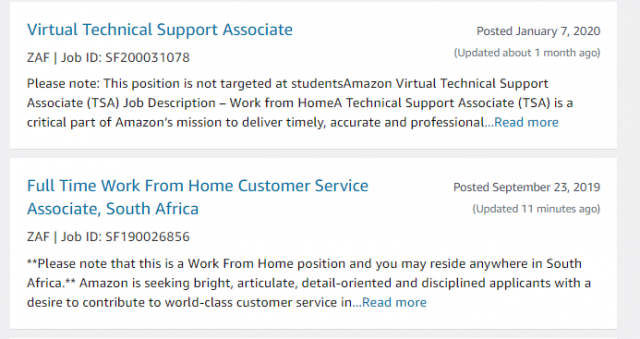 amazon work from home jobs south africa