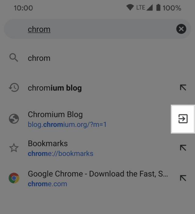 android switch to open chrome tabs