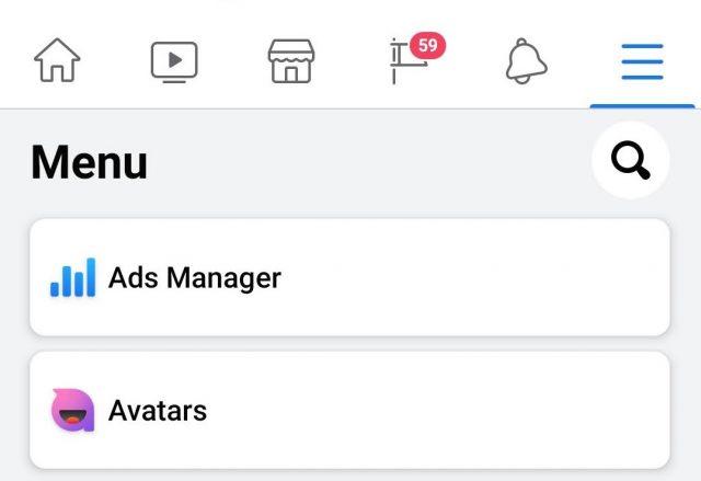 facebook avatars menu