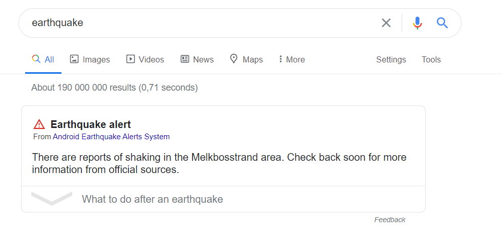 earthquake alert google