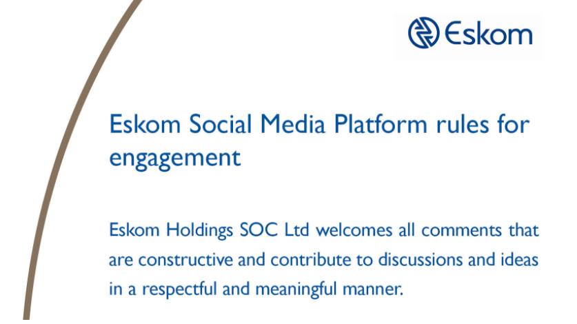 eskom social media rules