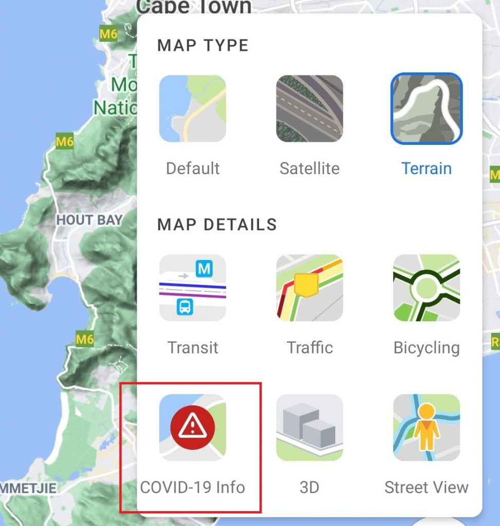 google maps switch to covid 19 view
