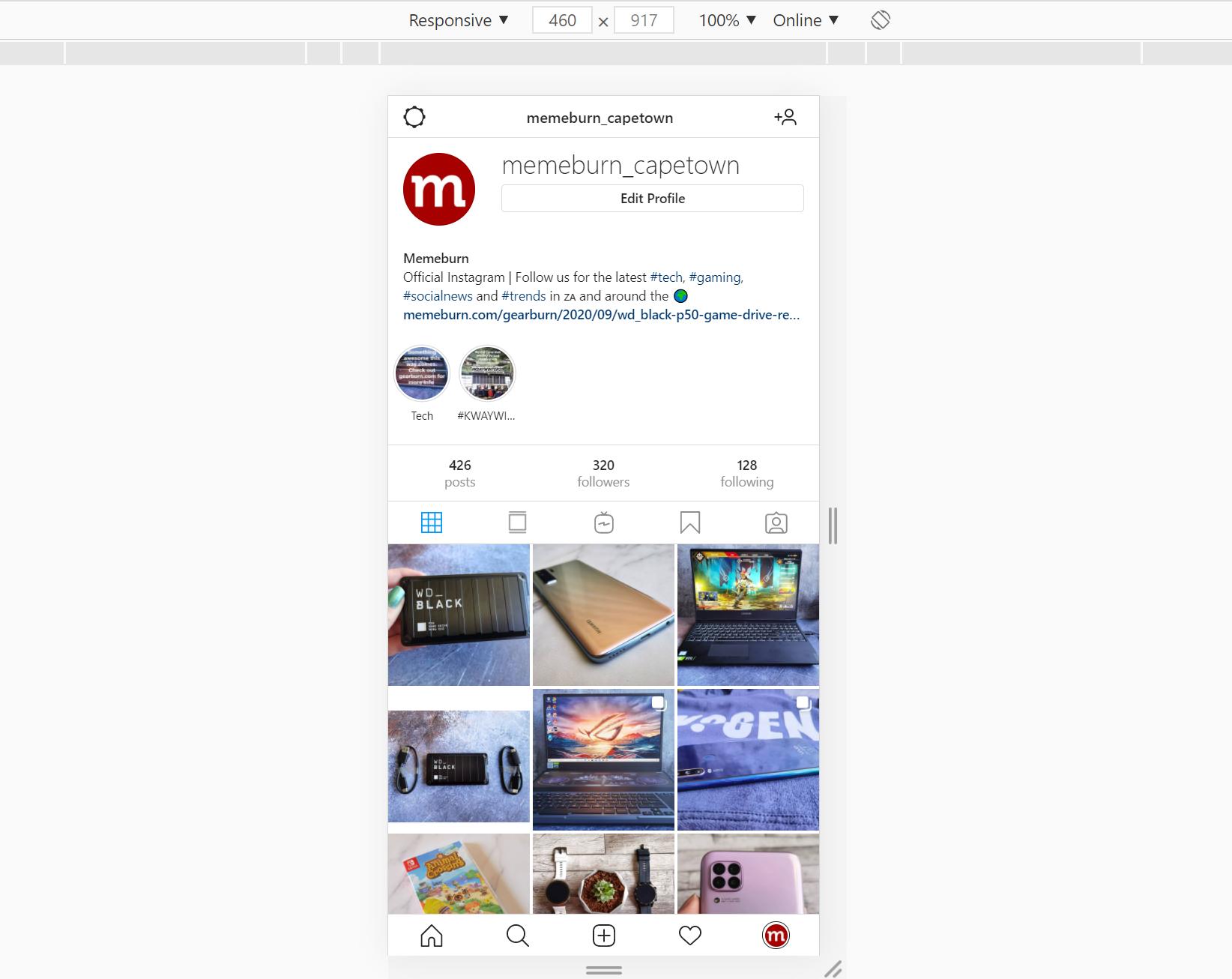 instagram mobile on chrome