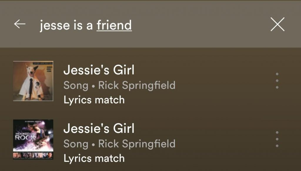 spotify lyrics search song rick springfield example