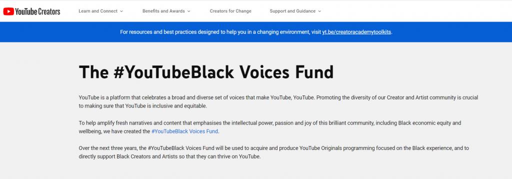 youtube creators black voices fund