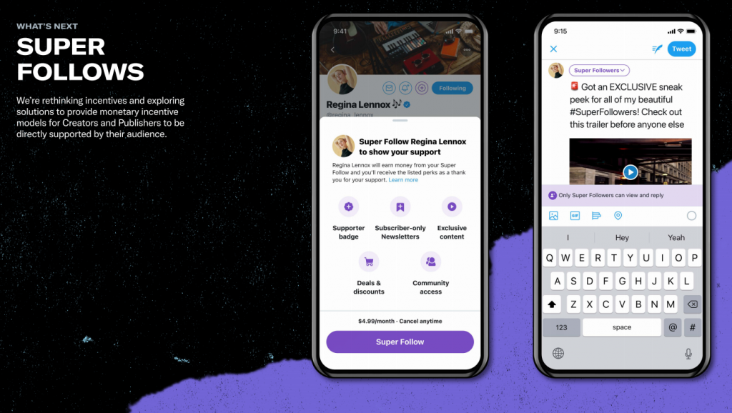 twittter super follows subscription feature