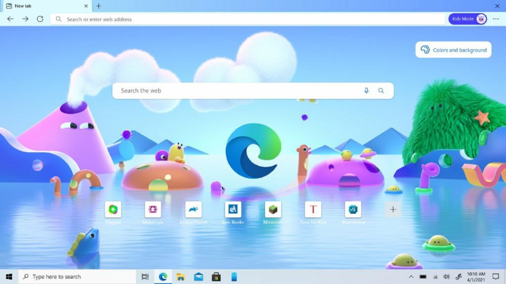 Microsoft Edge Kids Mode browser children young users