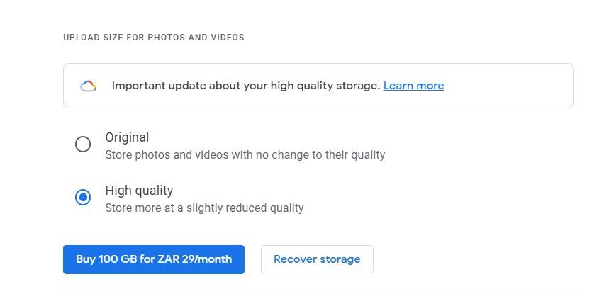 Google Photos app recover storage