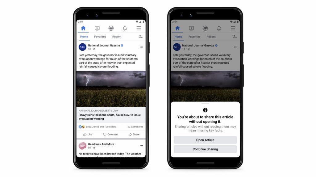 Facebook social media news articles link prompt sharing