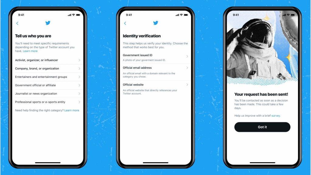 Twitter blue tick verification application process endorsements