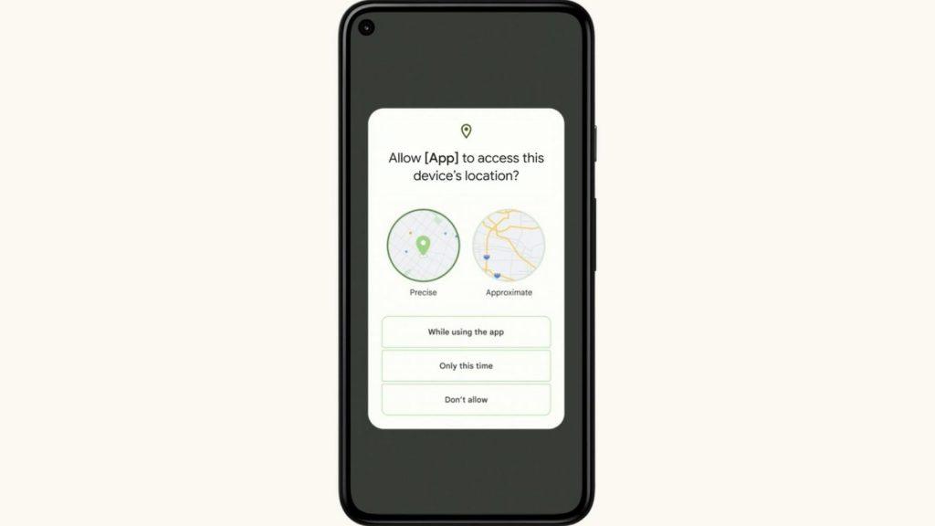 Google Android 12 Location data