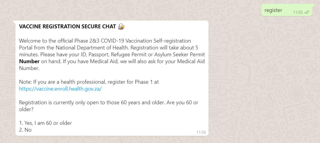 register vaccine whatsapp