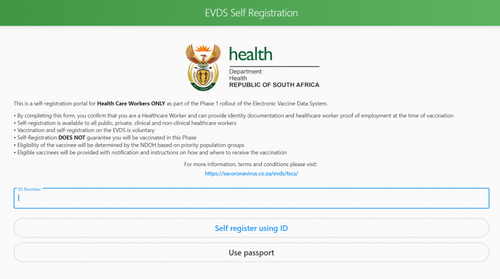 vaccine register website south africa evds