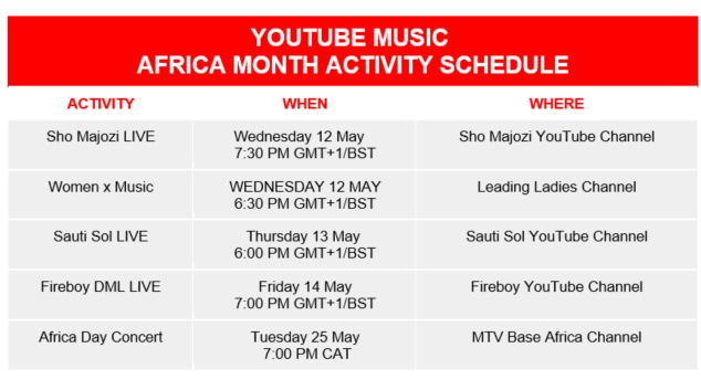 youtube africa month schedule
