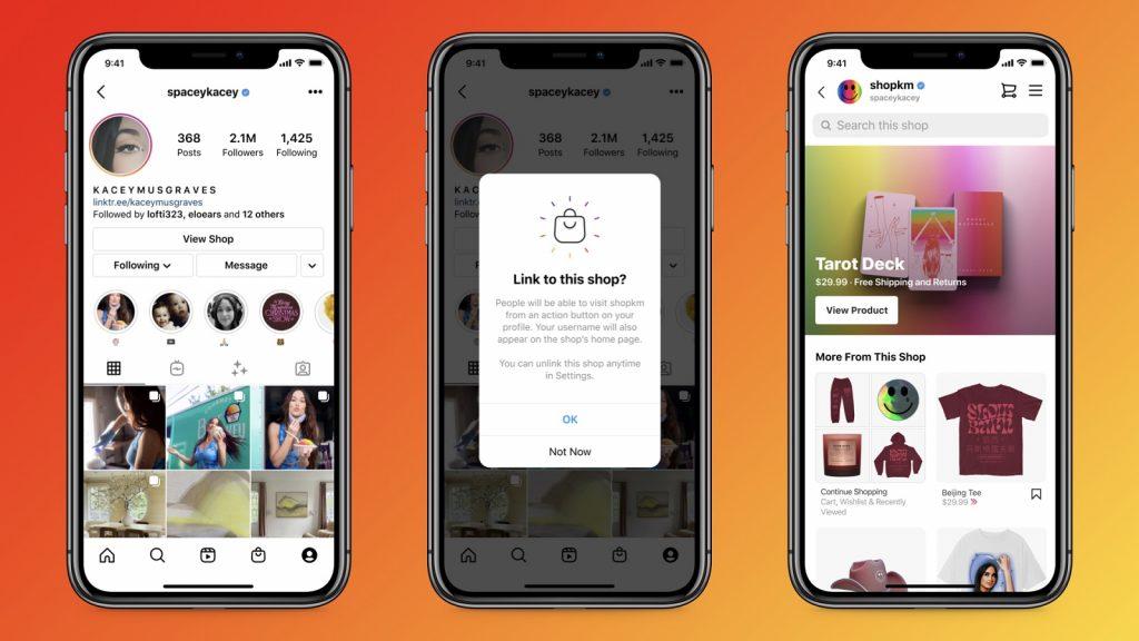 Instagram shops creators profile link features products