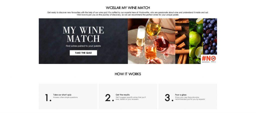 Woolworths WCellar My Wine Match quiz