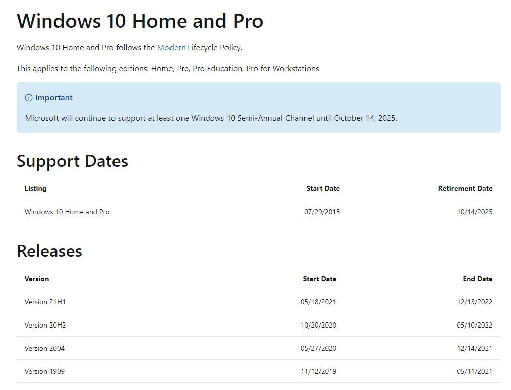 windows 10 support dates