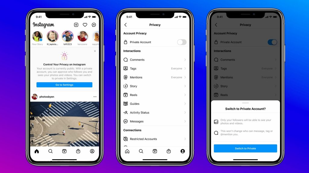 Instagram under-16 private accounts young users targeted ads privacy settings