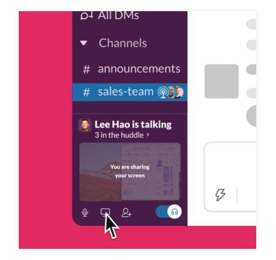 Slack Huddles chatrooms screen sharing video audio recordings