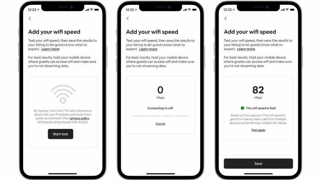 Airbnb app listings hosts accommodation Wi-Fi speeds internet