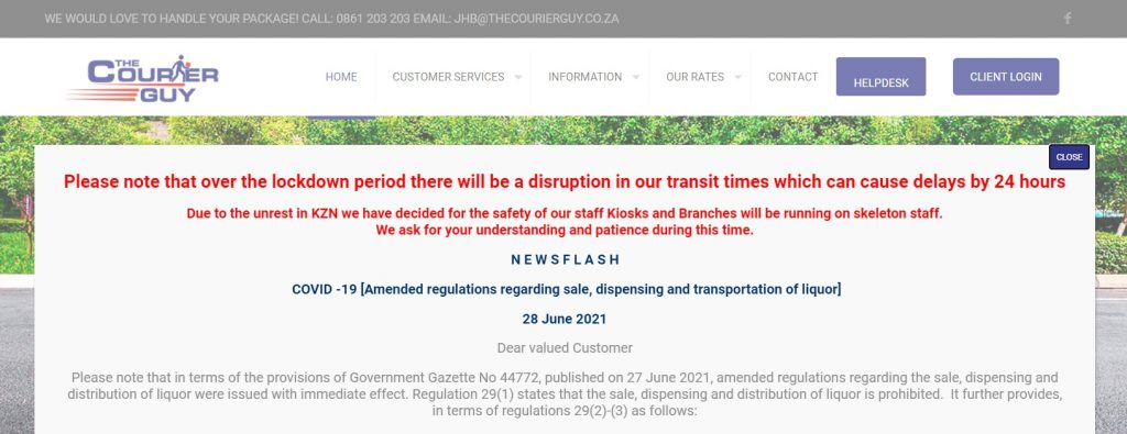 courier guy website delivery delays