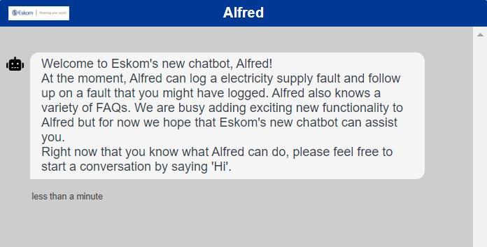 eskom alfred chatbot report fault