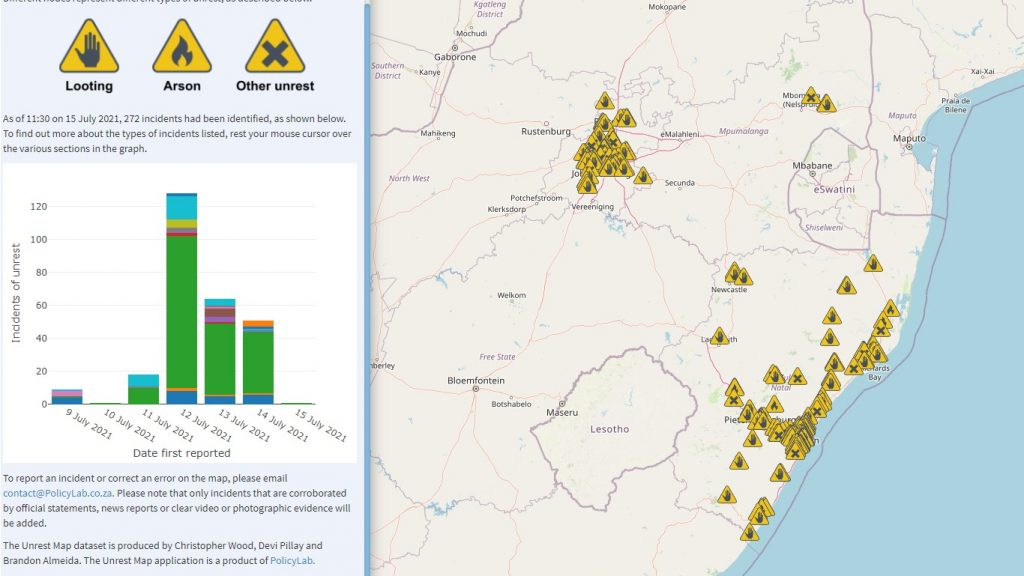 unrest tracker map app tool south africa