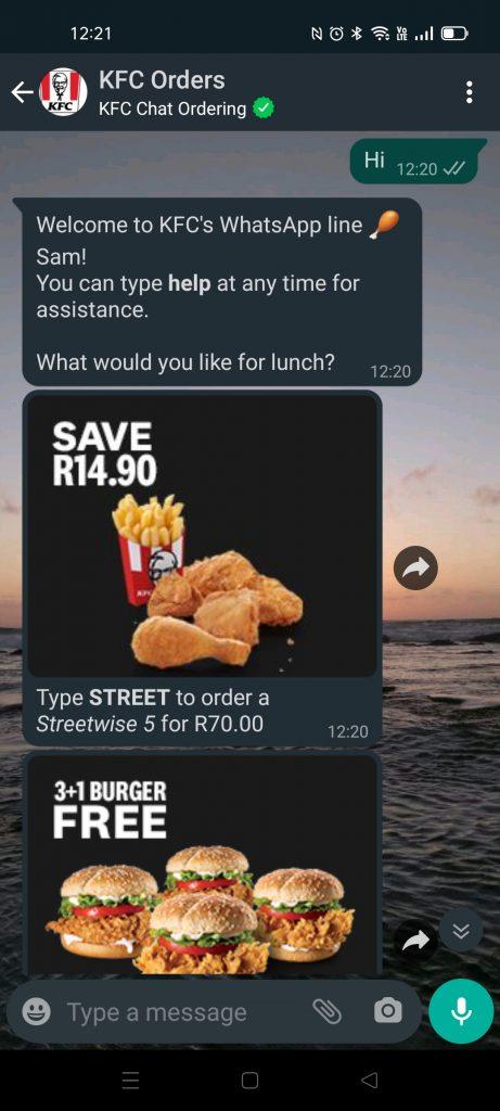 KFC WhatsApp chat orders