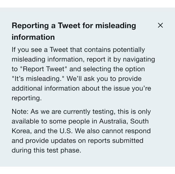 Twitter report tweet misinformation Fake news
