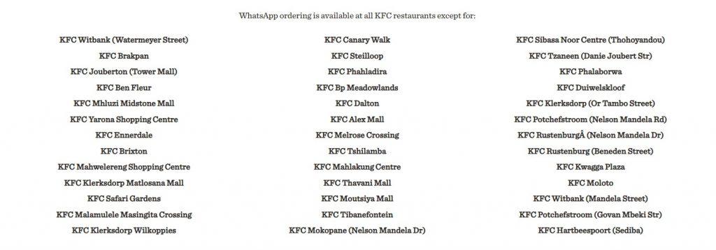 kfc restaurants without whatsapp
