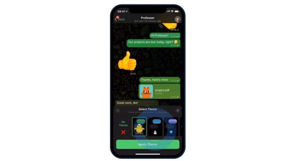 Telegram app chat themes messages