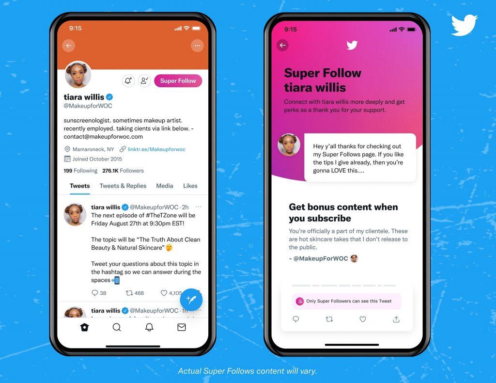 Twitter Super Follows subscribers accounts