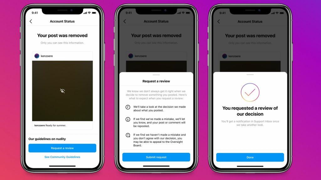 Instagram account status content community guidelines features