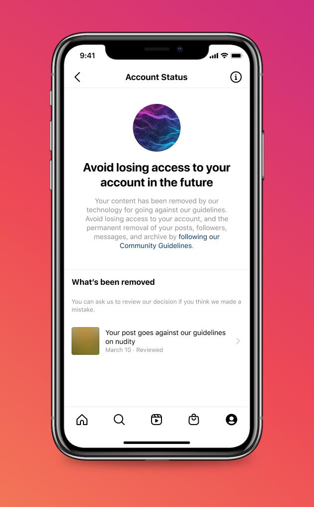 Instagram Account Status tool feature app account profile