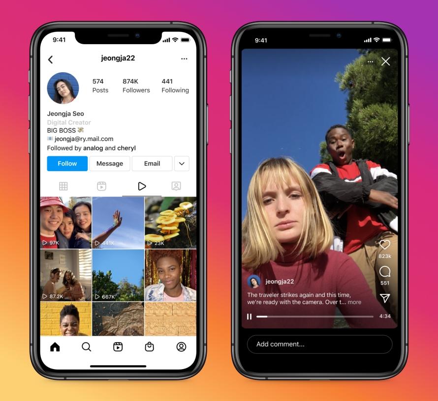 Instagram Video IGTV videos tab profiles